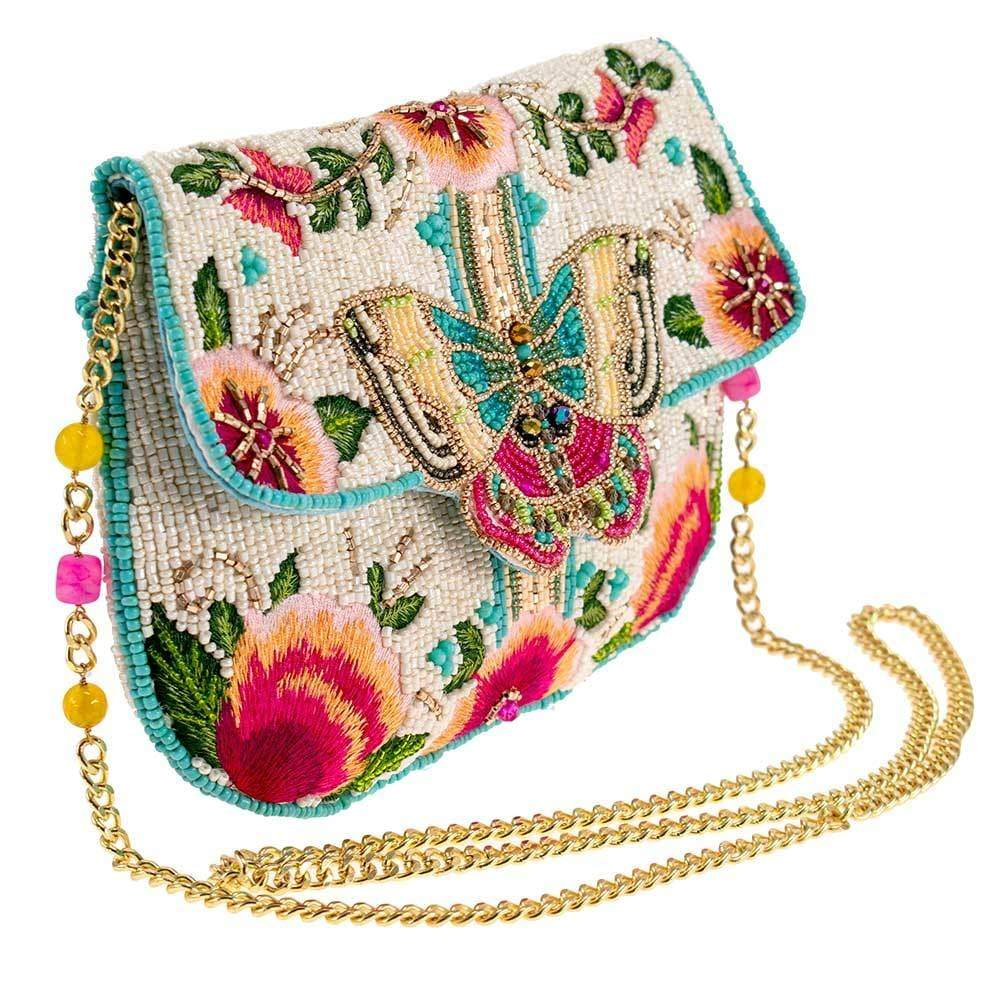 Mary Frances - Wallflower Beaded Crossbody Clutch Handbag SIDE VIEW
