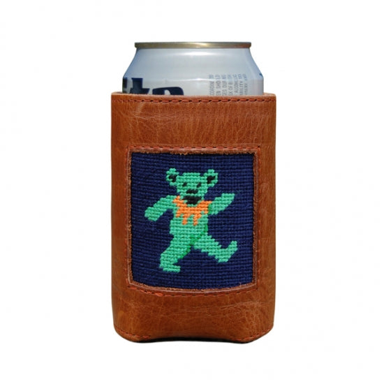 Smathers & Branson Needlepoint Can Cooler with Green Dancing bear with orange collar. A take off on a grateful Dead logo.