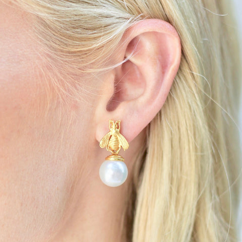 JULIE VOS - BEE PEARL DROP EARRING