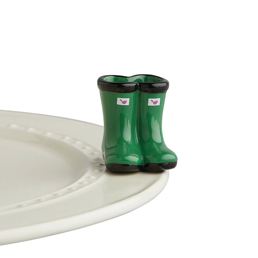 Nora Fleming - BRAND NEW! JUMPIN' PUDDLES GREEN BOOTS MINI