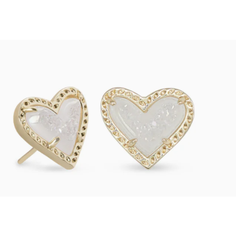 Kendra Scott - Ari Heart Gold Stud Earrings In Iridescent Drusy