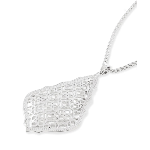 Kendra Scott -  Aiden Silver Long Pendant Necklace In Silver Filigree Mix