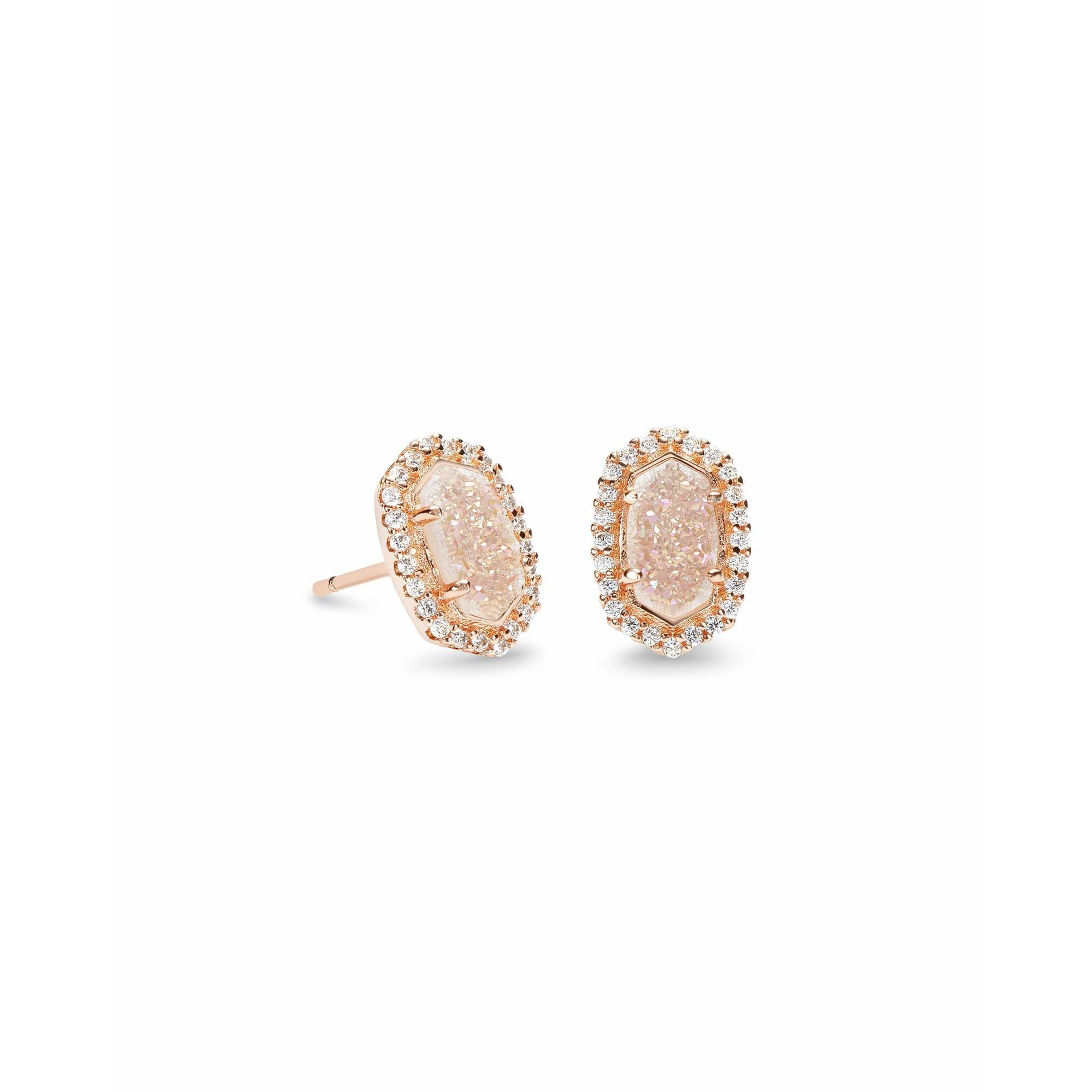 Kendra Scott - Cade Rose Gold Stud Earrings in Iridescent Drusy, Front View