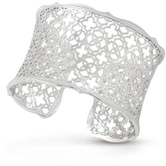 Kendra Scott -  Candice Silver Cuff Bracelet In Silver Filigree Mix side view