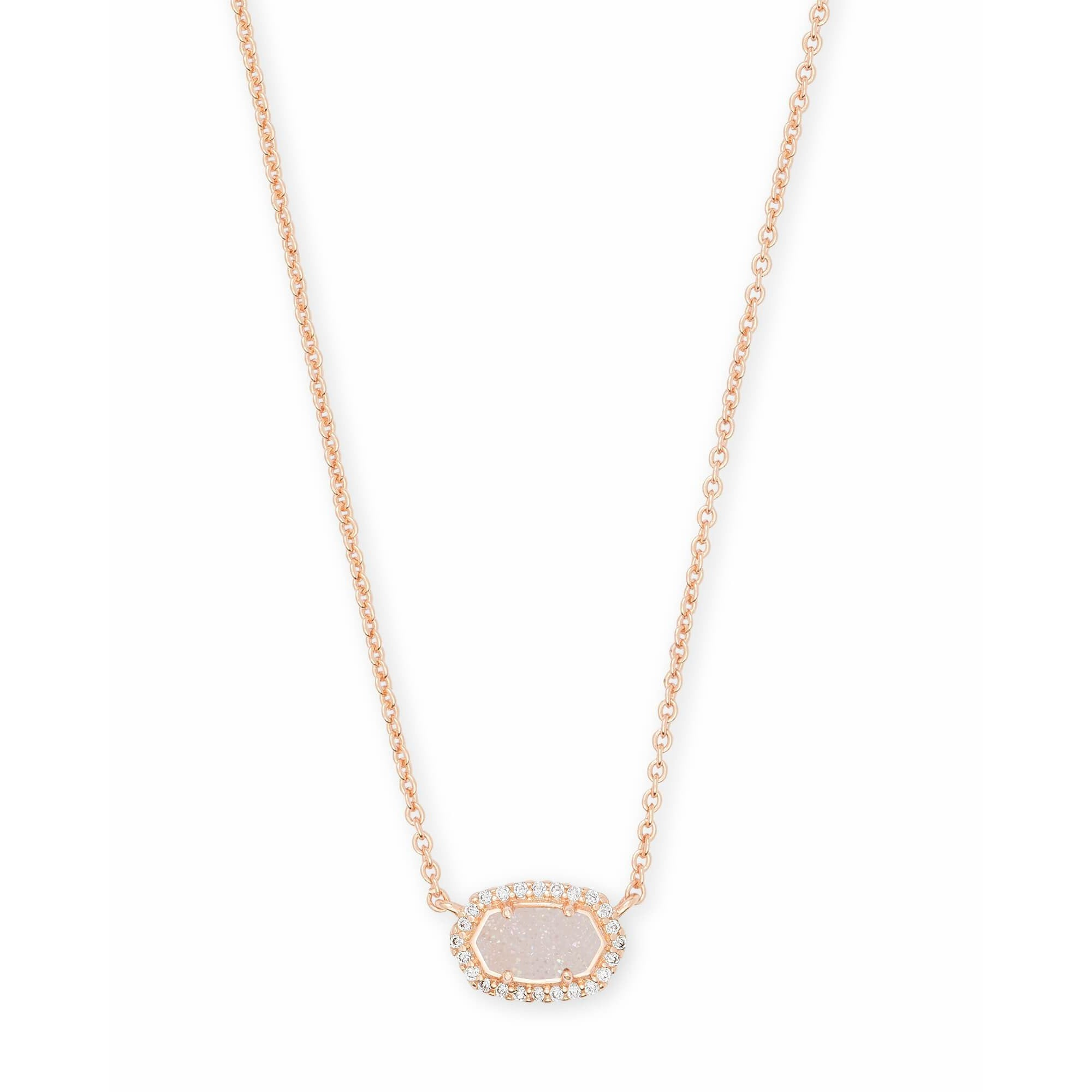 Kendra Scott -  Chelsea Rose Gold Pendant Necklace In Iridescent Drusy, Front View