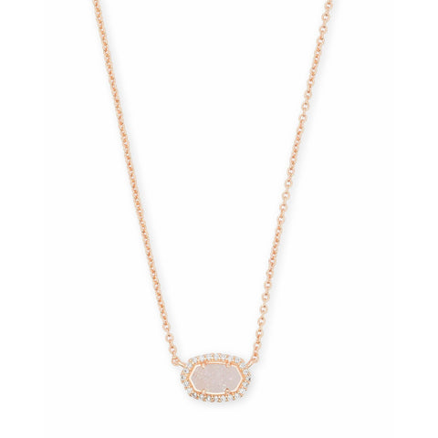 Kendra Scott -  Chelsea Rose Gold Pendant Necklace In Iridescent Drusy