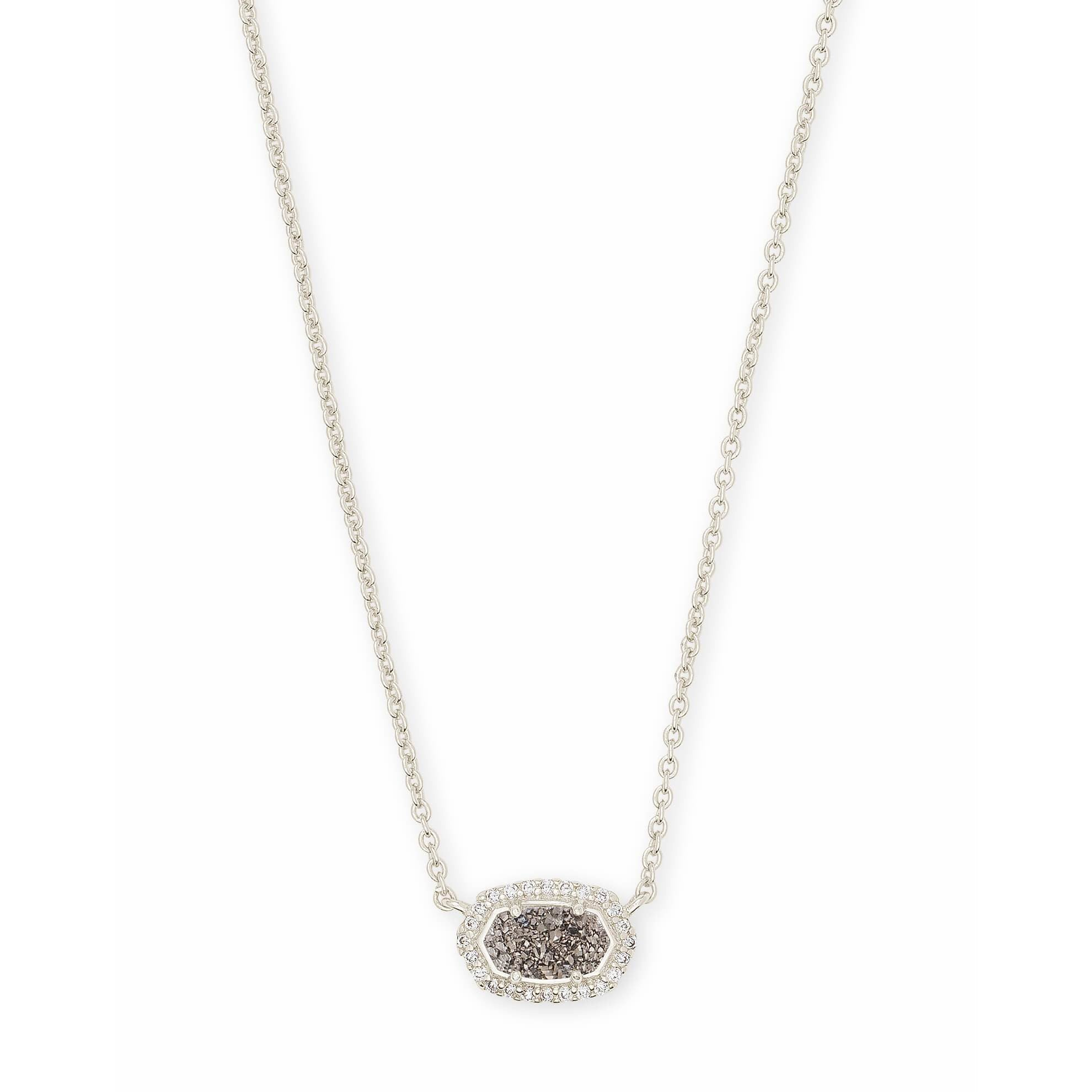 Kendra Scott - Chelsea Silver Pendant Necklace In Platinum Drusy