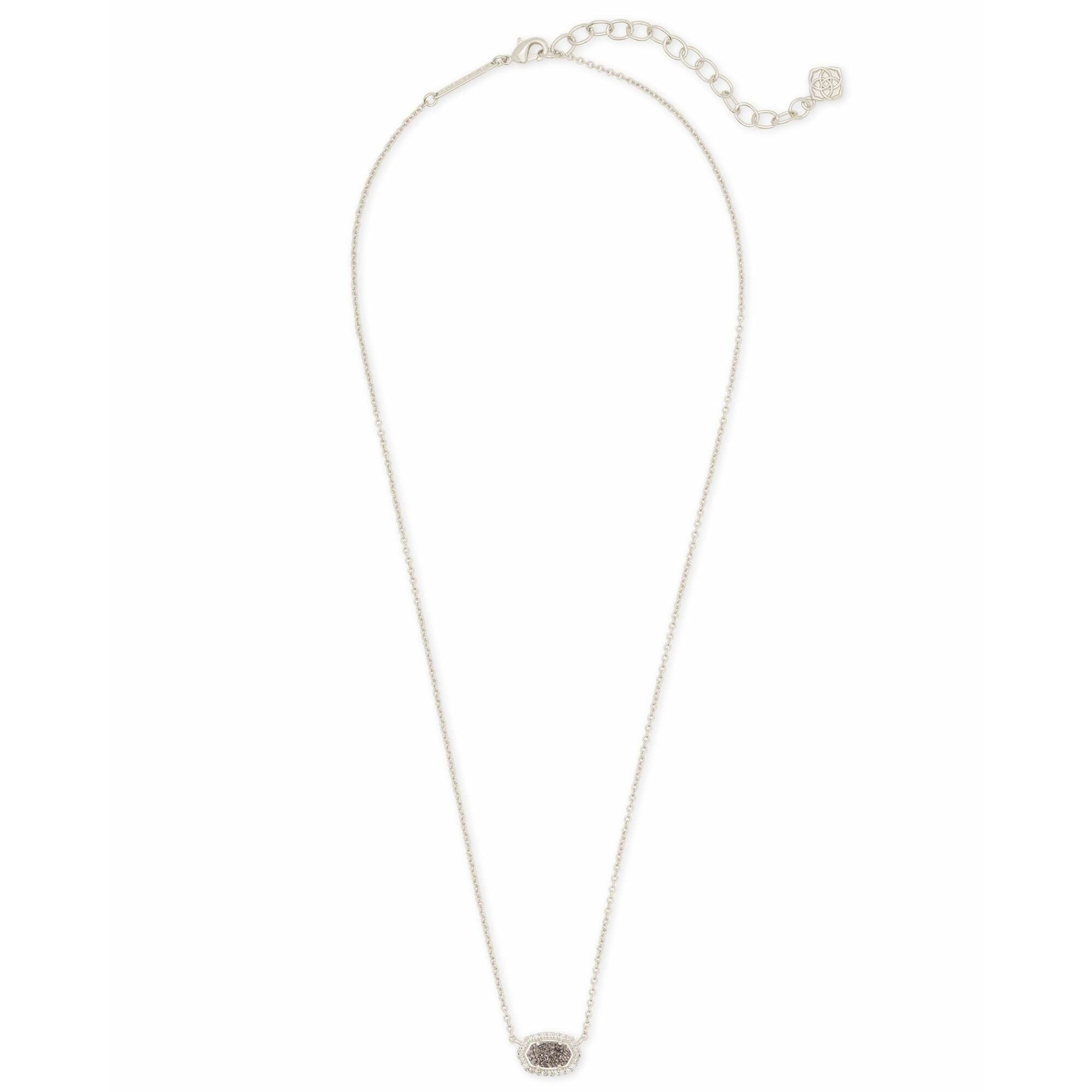 full view Kendra Scott - Chelsea Silver Pendant Necklace In Platinum Drusy