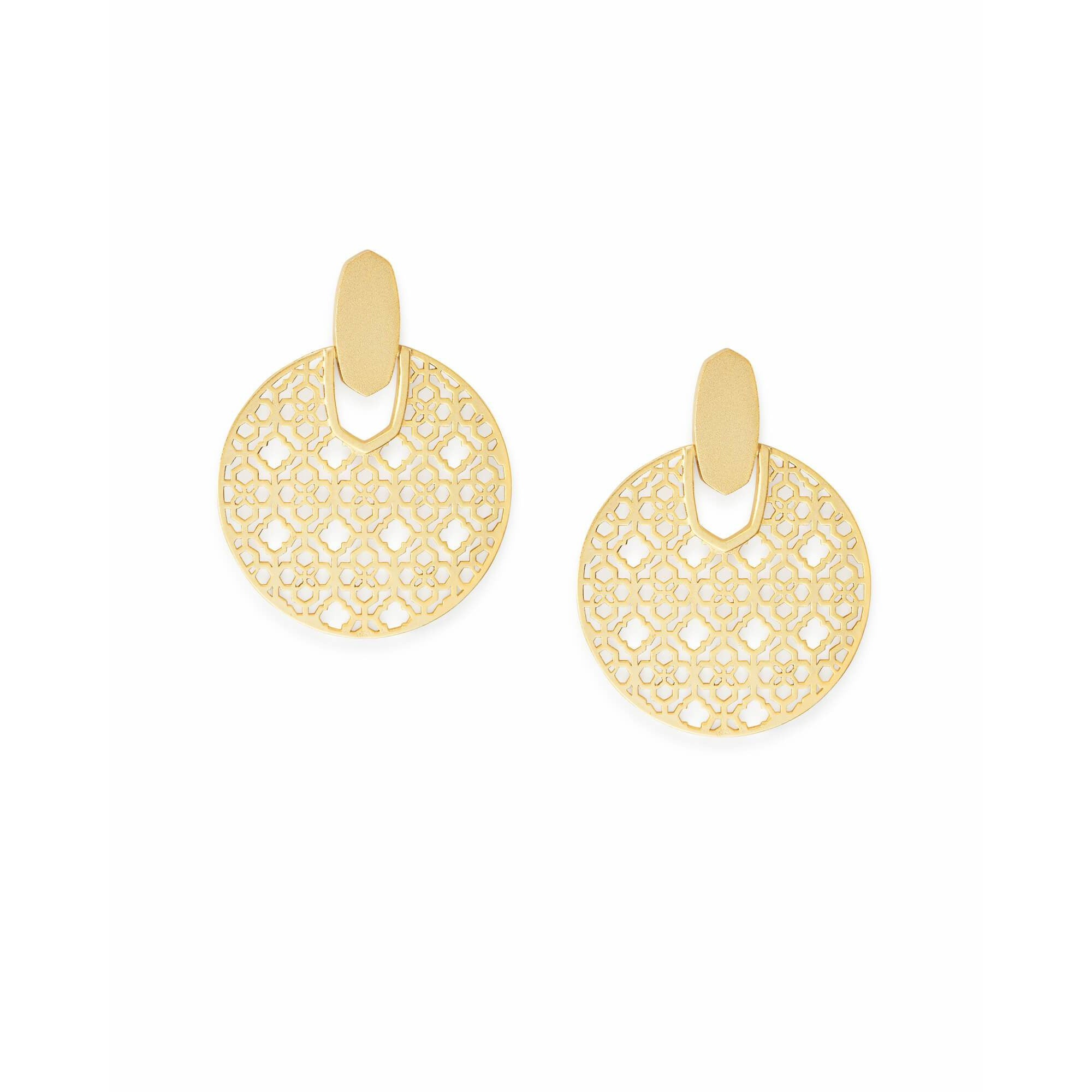 Kendra Scott - Didi Gold Statement Earrings in Gold Filigree, Front View