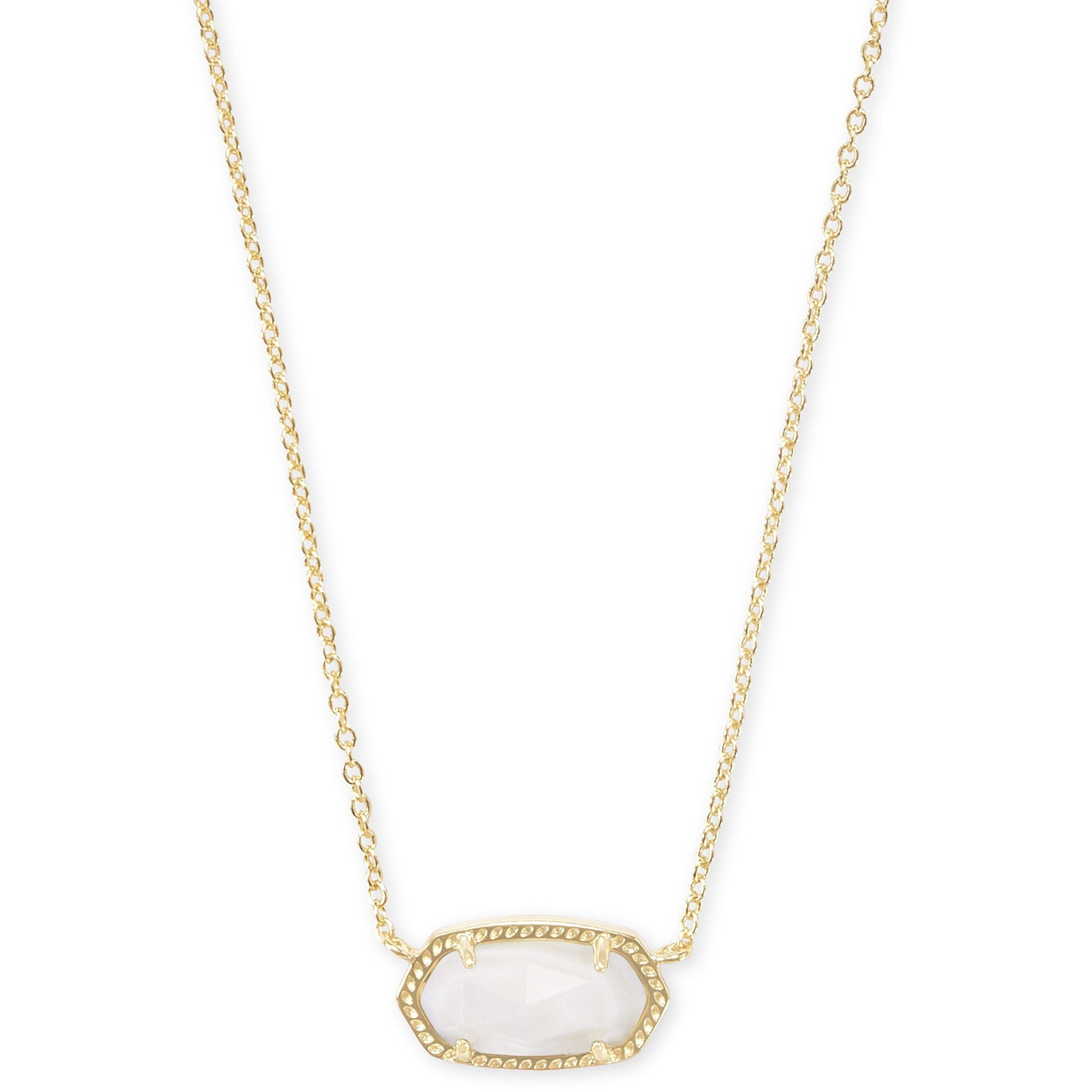 Kendra Scott - Elisa Gold Pendant Necklace in White Mother-of-Pearl, Front View