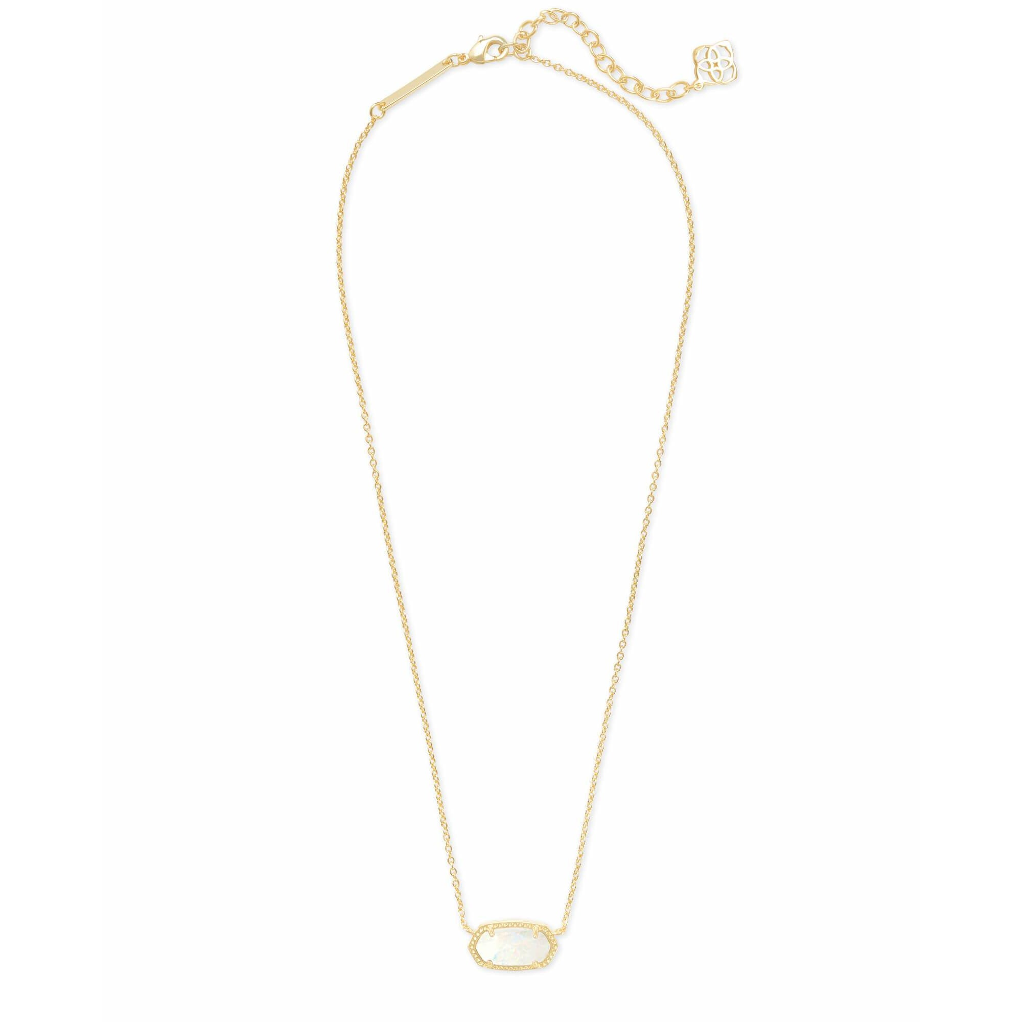 full view of Kendra Scott - Elisa Gold Pendant Necklace In White Kyocera Opal