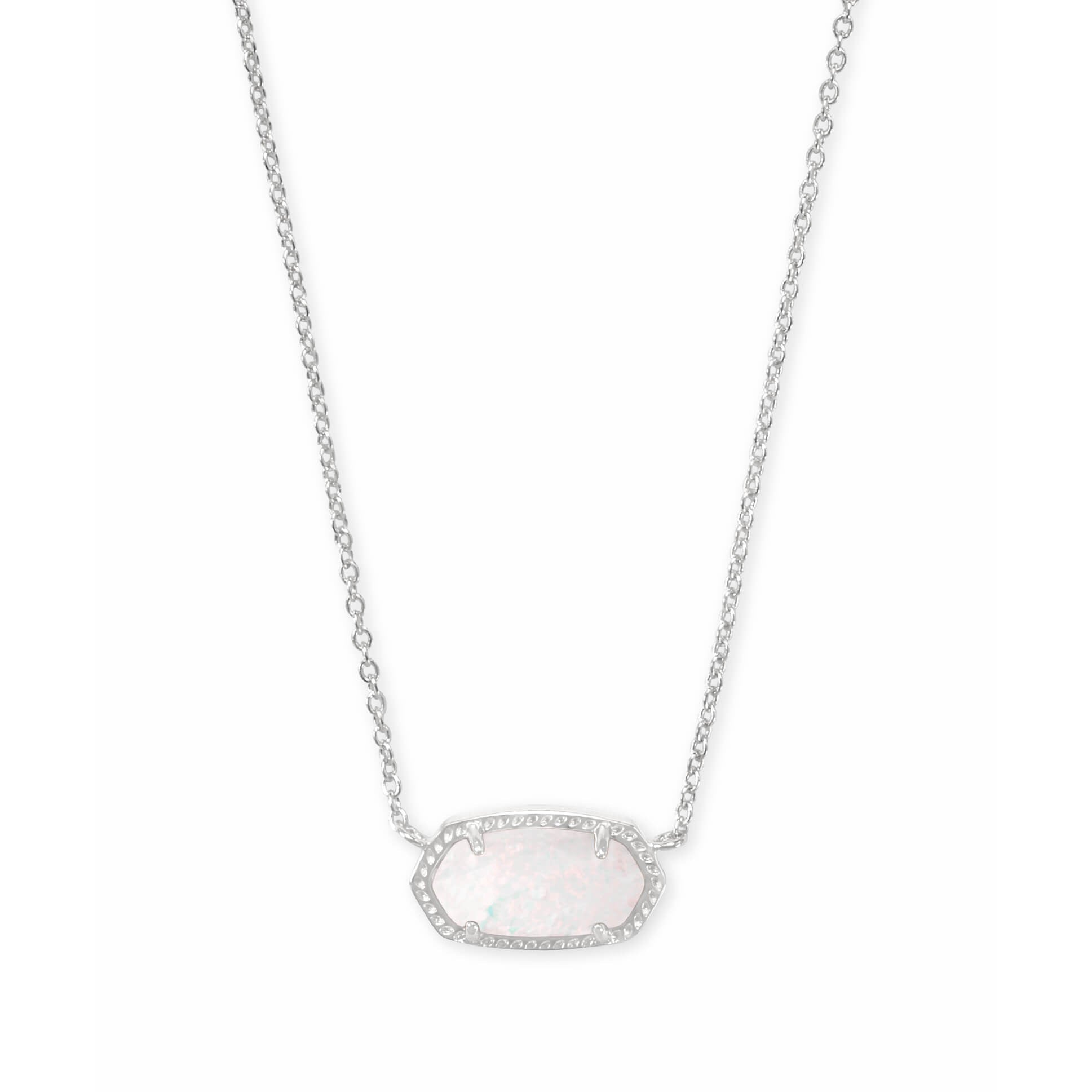 Kendra Scott - Elisa Silver Pendant Necklace In White Kyocera Opal, Front View