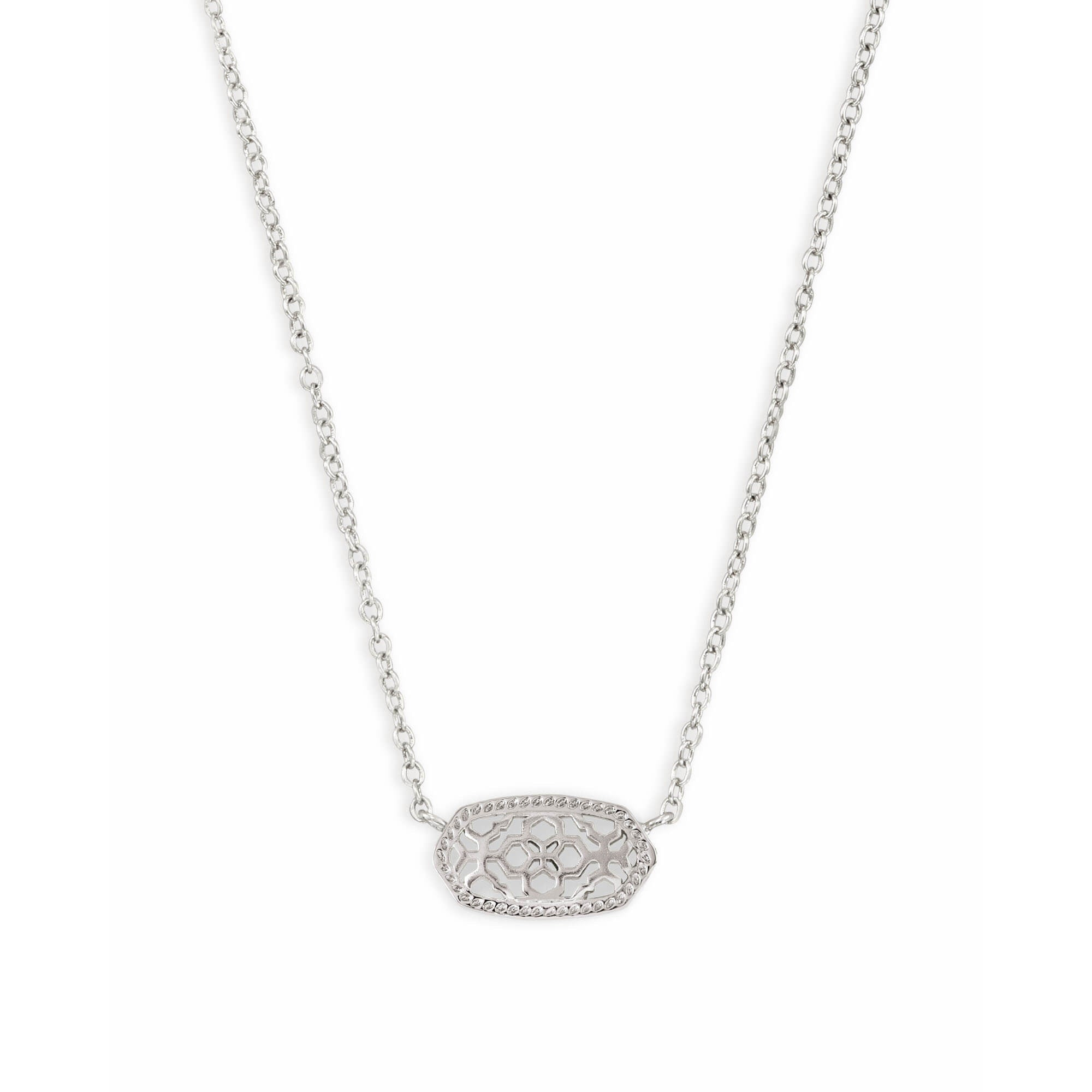 Kendra Scott - Elisa Silver Pendant Necklace in Silver Filigree, Front View