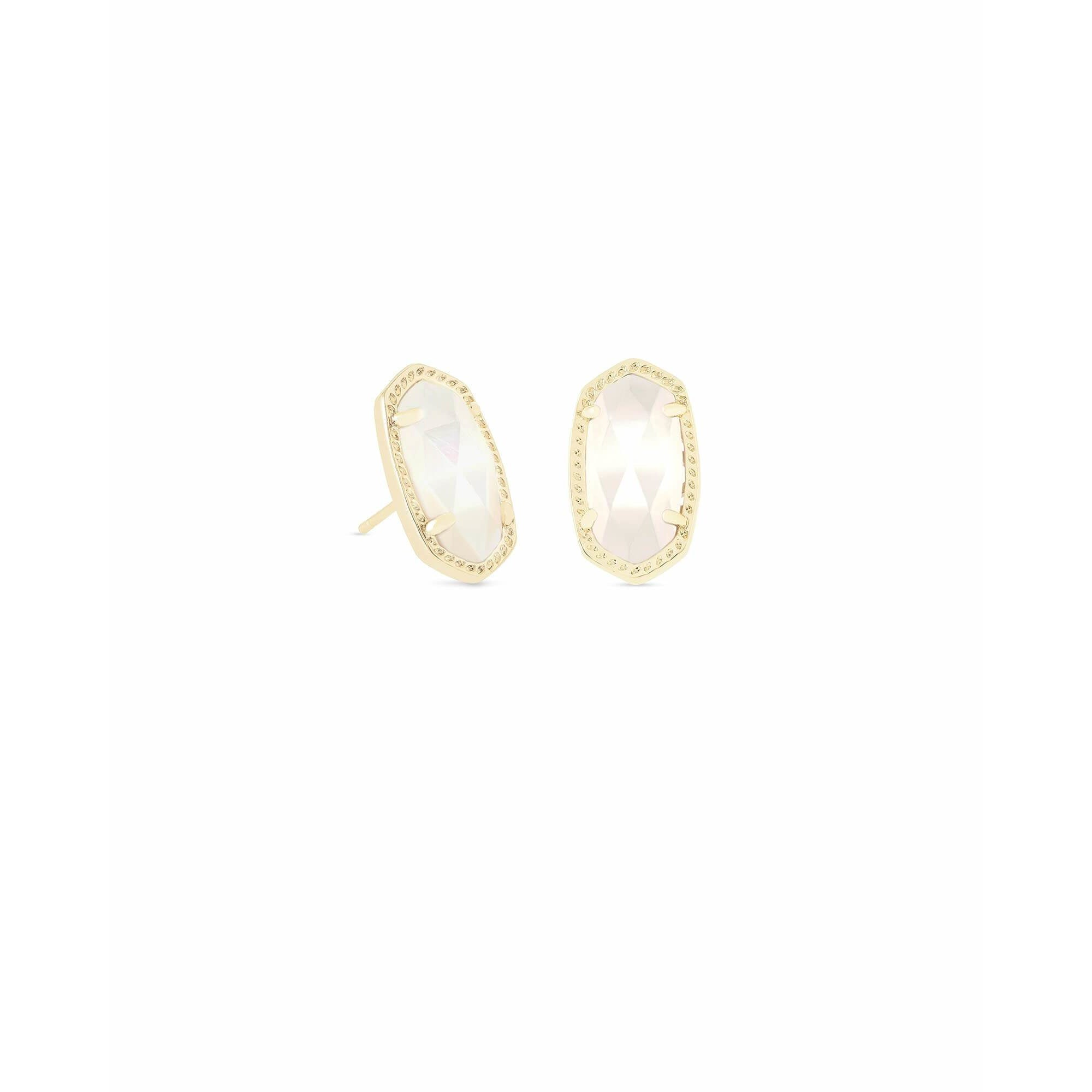 Kendra Scott - Ellie Gold Stud Earrings in Ivory Pearl, Front View