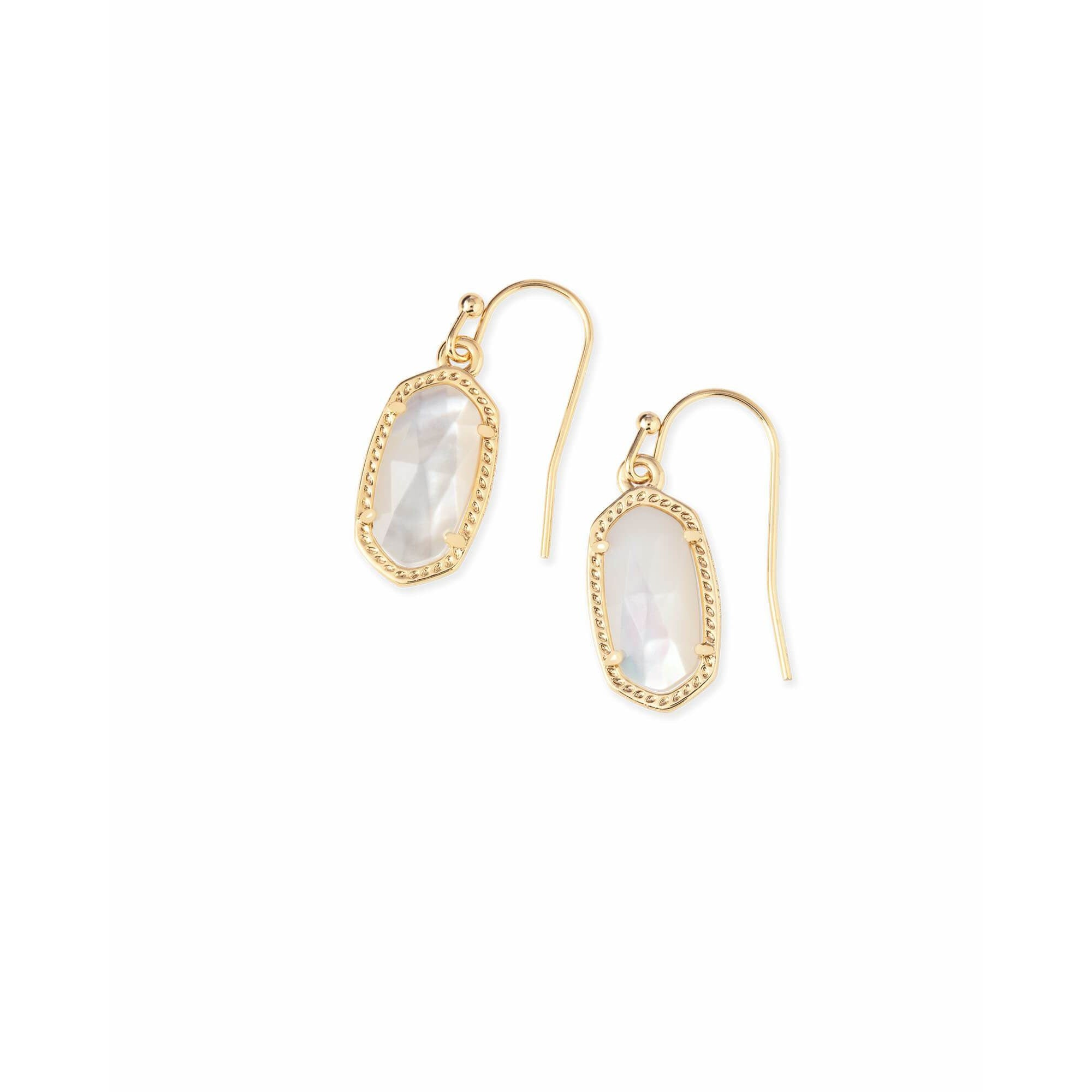 Kendra Scott - Lee Gold Drop Earrings in Ivory Pearl, Front View