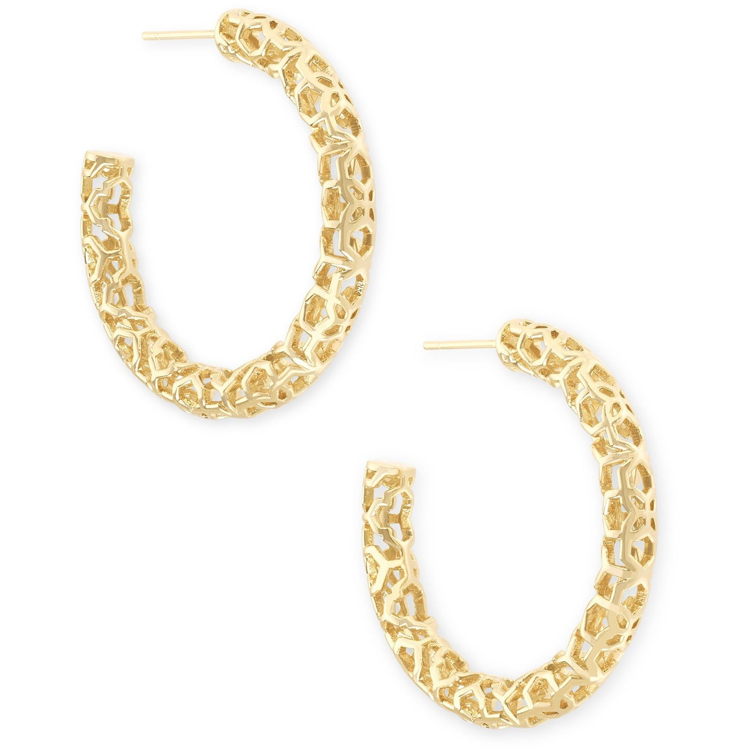Kendra Scott - Maggie Small Hoop Earrings in Gold Filigree, Front View