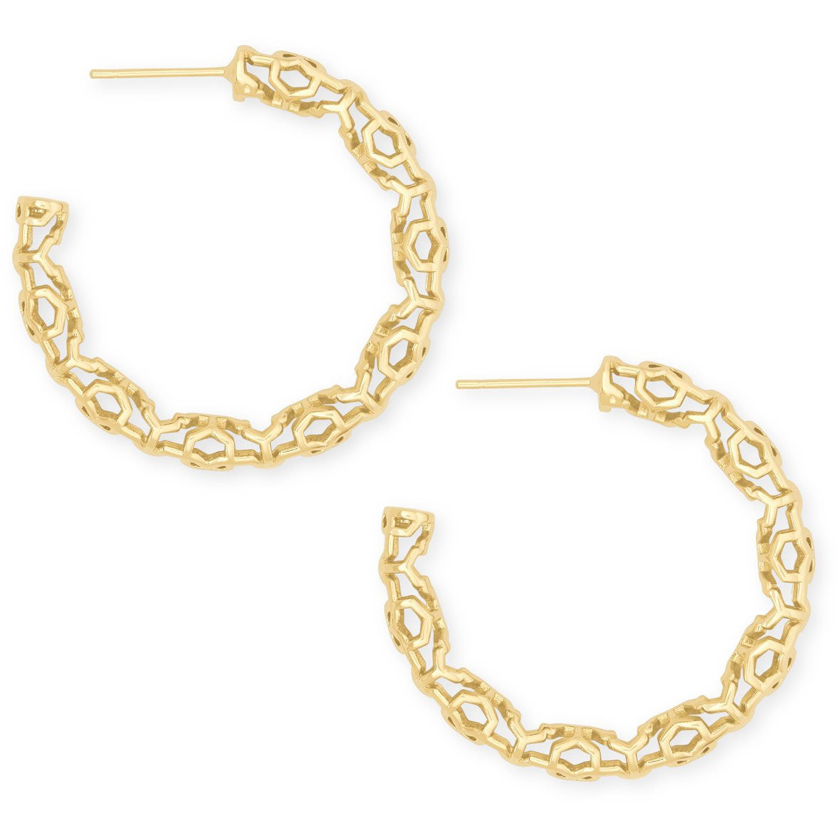Kendra Scott - Maggie Small Hoop Earrings in Gold Filigree, Side View