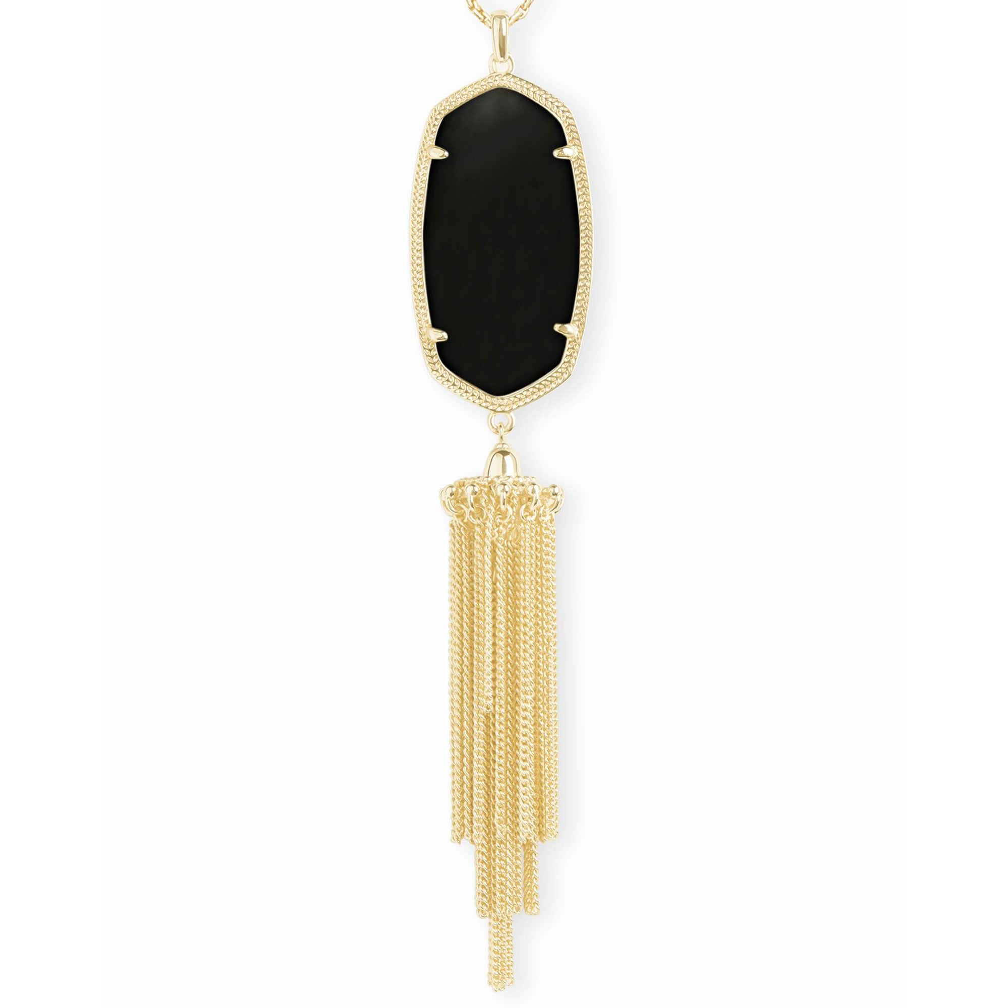Kendra Scott - Rayne Gold Long Pendant Necklace In Black Opaque Glass close up