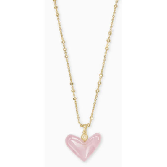 Kendra Scott - Poppy Heart Gold Pendant Necklace In Rose Quartz