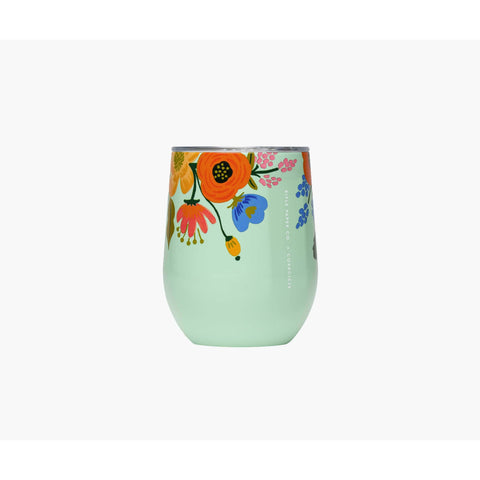 Corkcicle  - Rifle Paper Co. Stemless Wine Cup Mint Lively Floral