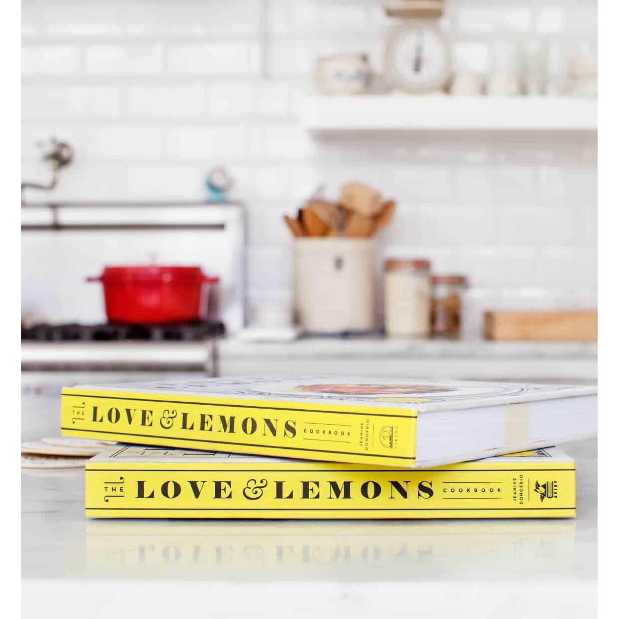 The Love and Lemons Cookbook: The spine of the book is yellow with the name of the book down the side.