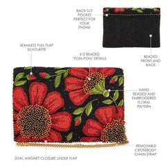 Mary Frances - Wallflower Beaded Crossbody Clutch Handbag DETAILS