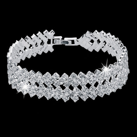 Luxury Crystal Bracelets For Women Silver Bracelets