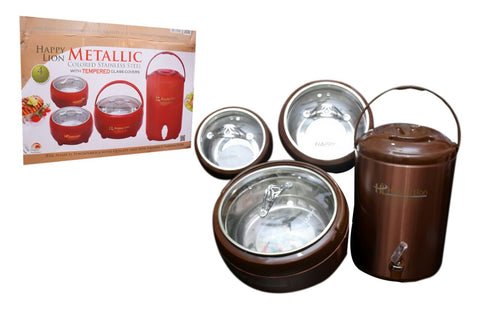 Happy Lion Metallic 4 Pcs Hotpot & Cooler Set - Brown