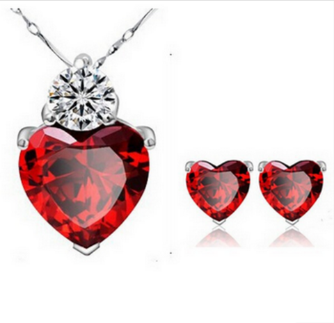 Heart Necklace and Earrings  for Her 2 Piece Set