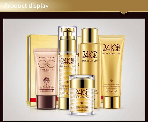 24K Gold Gold Moisturizing Face Skin Care Set 5 Pieces
