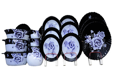 S.h Crockery Sheesha Dinner Set for 8 Persons Black with Blue Flowers