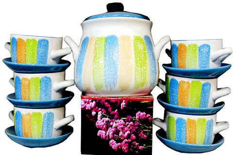 S.H Crockery Soup Set Serving 8 Persons Multi color