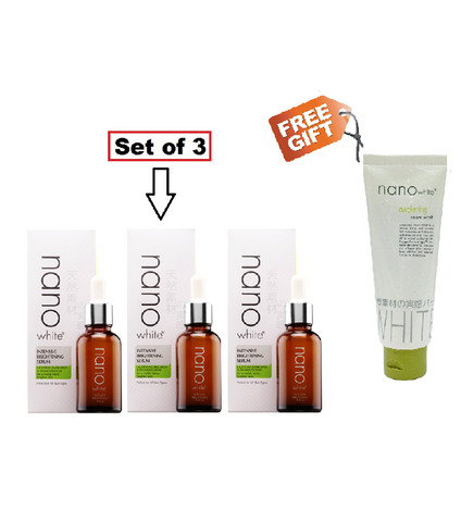 Nano White Intensive Brightening Serum 30ml (Set of 3) + FREE GIFT  Nano awakening snow wash