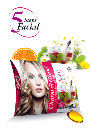 Charm & Glow Natural Herbal Facial Kit with 5 Steps Facial for Glowing Face