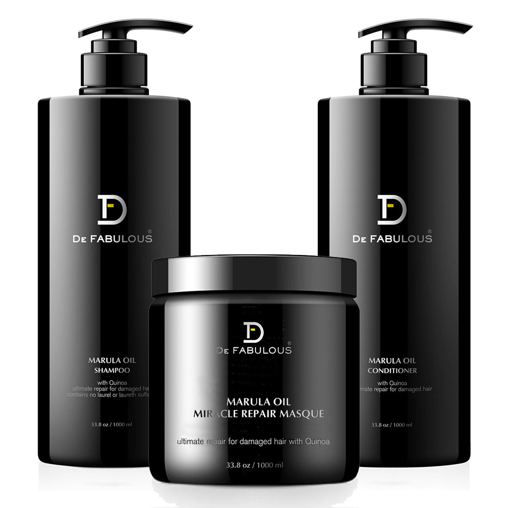 De Fabulous Marula Oil Shampoo, Conditioner, Masque Set