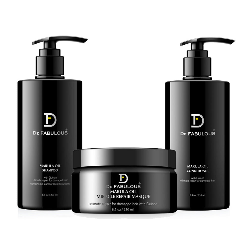De Fabulous Marula Oil with Quinoa  Shampoo, Conditioner, Masque Set-Keeping Lusty
