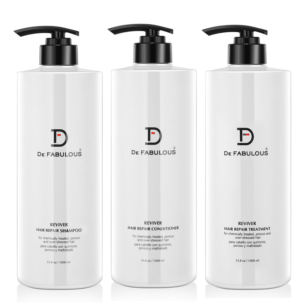 De Fabulous Reviver Hair Repair Shampoo, Conditioner & Treatment Set | 8.5 fl oz - 33.8 fl oz |