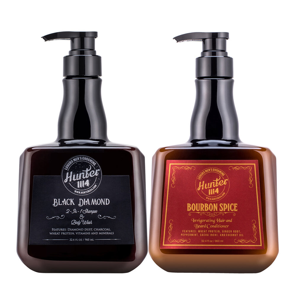 Hunter 1114 Men's Grooming | Black Diamond Shampoo and Bourbon Spice Conditioner Set
