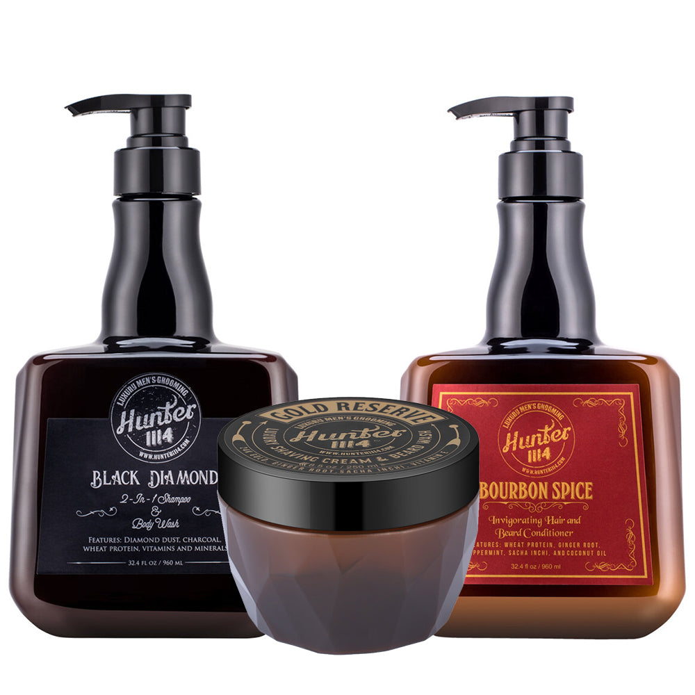 Hunter 1114 Men's Grooming | Shampoo, Conditioner, Shaving Cream Set-Keeping Lusty