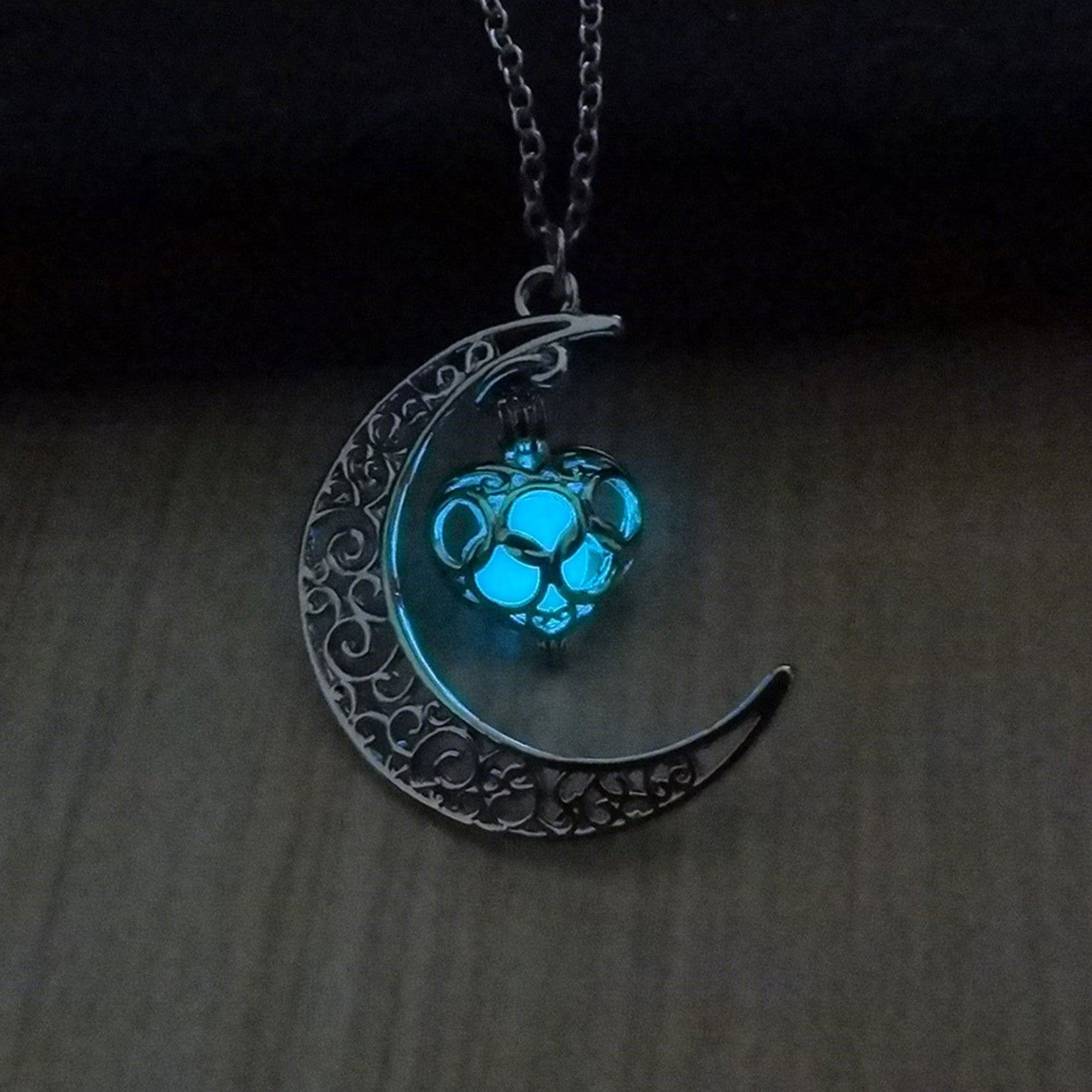 moonlight necklaces chain glow hollow the moon heart pendant necklace plated products dark proud loud gothic silver choker jewellery in jewelry glowing n
