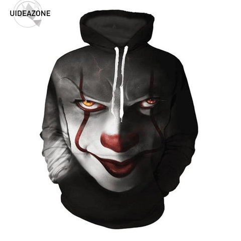Pennywise 3D Clown Ice Skull Hoodie Sweatshirt Men Women Pullover Hoody Top Sudadera Hombre Casual Sportswear Tracksuit EUR Size