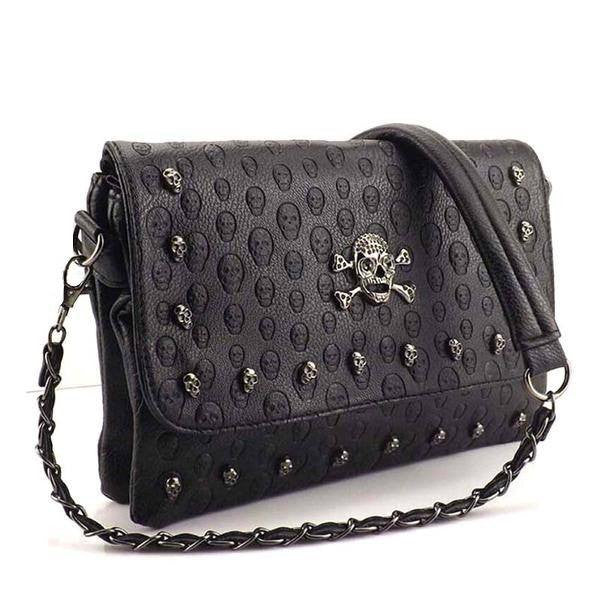black gothic purse with skulls on