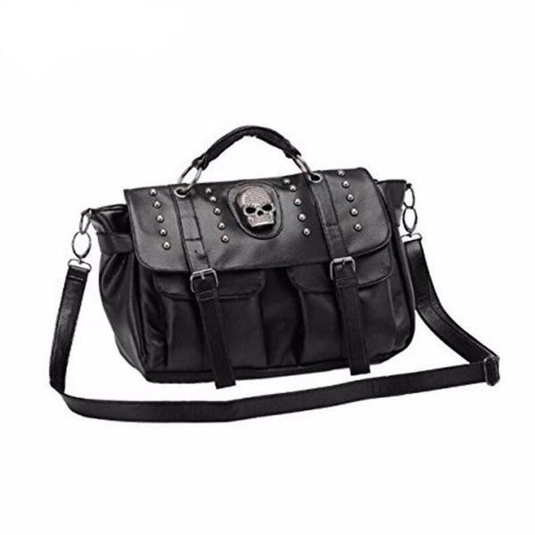 Skull Riveted Shoulder Bag