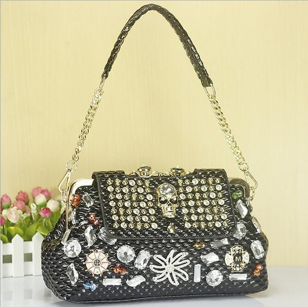 skull diamond chain handbag