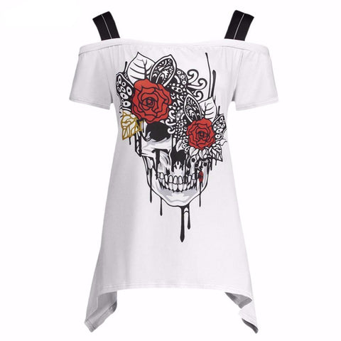 Skull Rose Off Shoulder Top