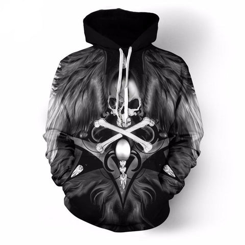 Motorcycle Art Skull Hoodies Men