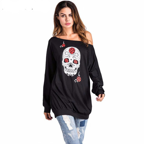 Skull off shoulder sweatshirt