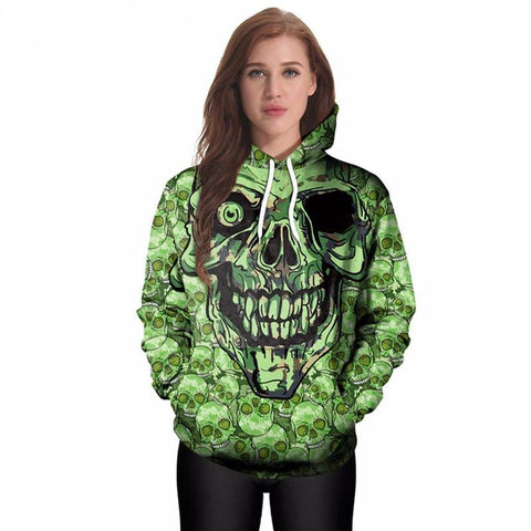 Green Skeleton Skull Hoodies