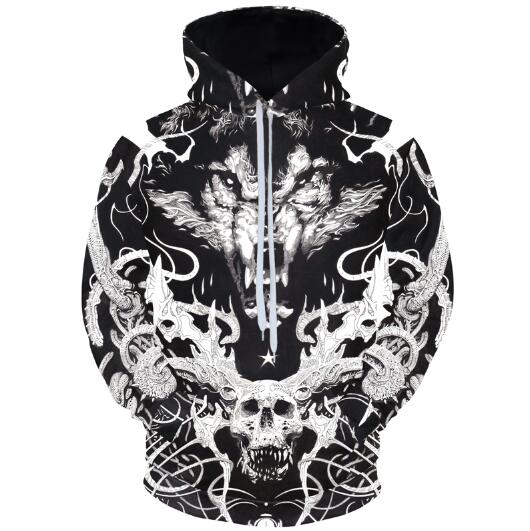 Skulls And Wolf Hoodies