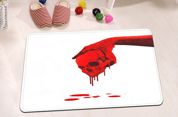 Scary Blood Skull Shower Curtain & Mat